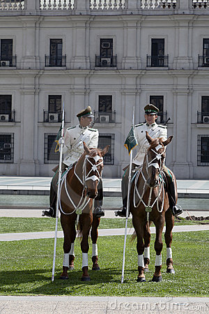 Palace Guards at La Moneda, Santiago de Chile Editorial Stock Photo