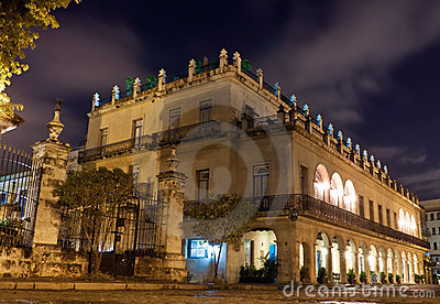 Palace in Old Havana at night
