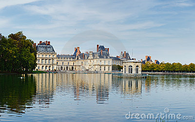 Palace And Pond In Fontainebleau