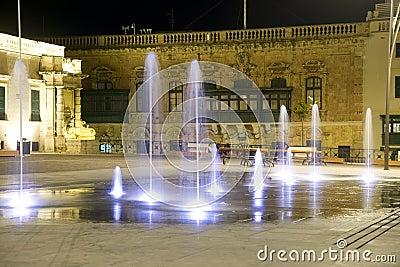 Fountain at night. Valetta, Malta. Editorial Stock Image