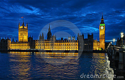 Palace of Westminster London England UK at night