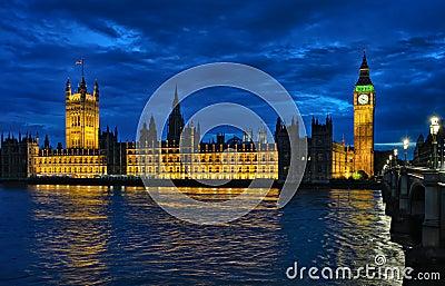 Palace of Westminster London England UK at night