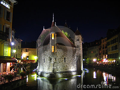 Palaise d Isle in night, Annecy, France