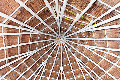 Palapa style roof of a hotel room in Mexico
