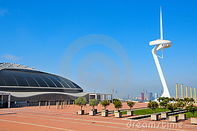 Palau Sant Jordi arena and Montjuic  Tower Bar Editorial Stock Image