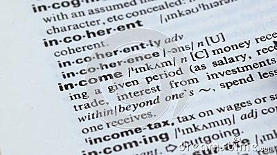 Palavra da renda escrita no dicionário inglês, recebendo o dinheiro no negócio, lucro filme