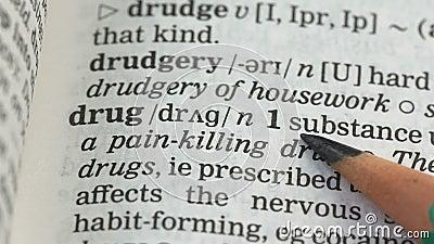 Palavra de droga significa vocabulário em inglês, substância de tratamento médico, narcótico vídeos de arquivo