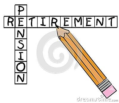 Palavras cruzadas da pensão de aposentadoria