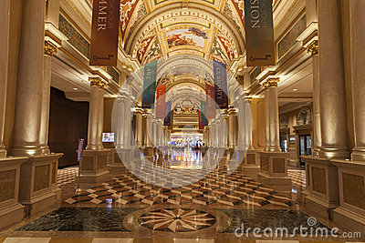 Palazzo Hotel Interior in Las Vegas, NV on August 02, 2013 Editorial Photography