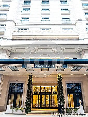 Palazzo Parigi旅馆,米兰 编辑类库存照片