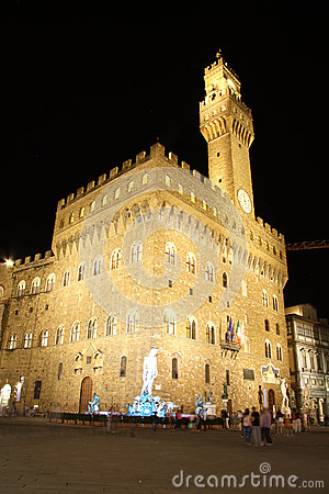 Palazzo Vecchio - Old Palace - in Florence (Italy) Editorial Photography