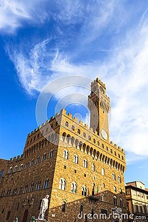 Palazzo Vecchio Signoria square landmark in Florence, Italy. Lon