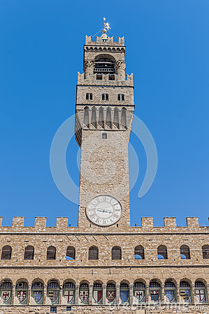 The Palazzo Vecchio, town hall of Florence, Italy.