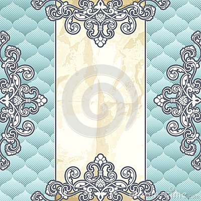Pale blue vintage banner with metallic ornaments