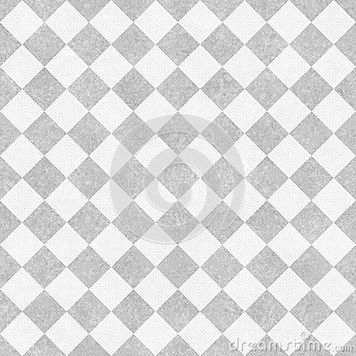 Pale Gray and White Diagonal Checkers on Textured Fabric Backgro