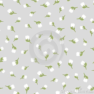 Free Pale Pastel Color Vector Seamless Pattern Whith Light Tulips. Texture For Wrapping Paper, Scrapbooking Design Royalty Free Stock Image - 112209566