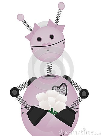 Pale Pink Robot Bride holds bouquet