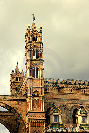 Palermo Cathedral tower on cloudy sky