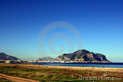 Palermo city port & Pellegrino mount, Italy