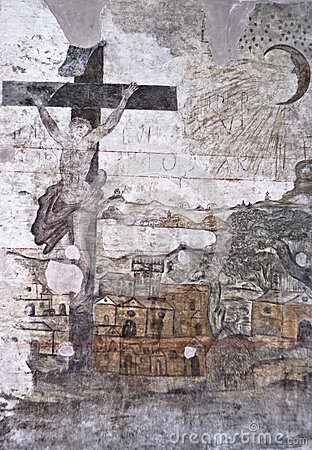 Graffiti in the dungeons of the Inquisition in Palermo Editorial Stock Image