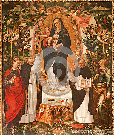 Palermo -  Renaissance paint of Madonna with the Dominicans saints