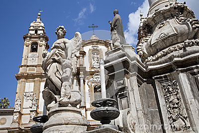Palermo  - Saint Dominic church and baroque column