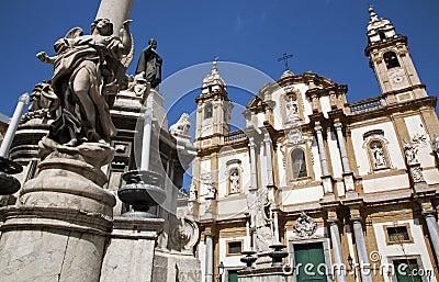 Palermo - Saint Dominic church and baroque column