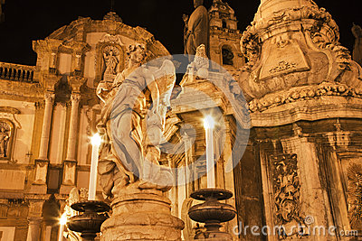 Palermo - San Domenico - Saint Dominic church and baroque column