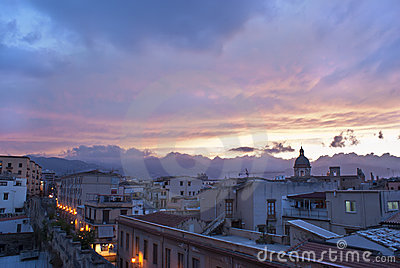 Palermo view at sunset.Sicily