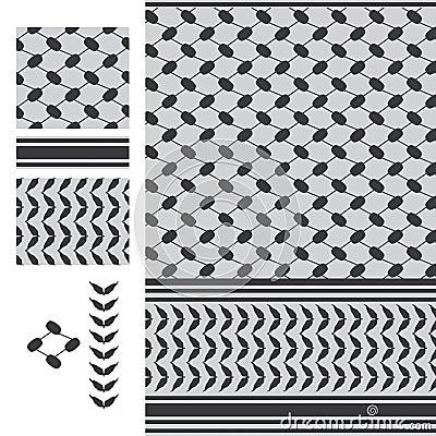 Palestine Keffieh black white seamless pattern Vector Illustration