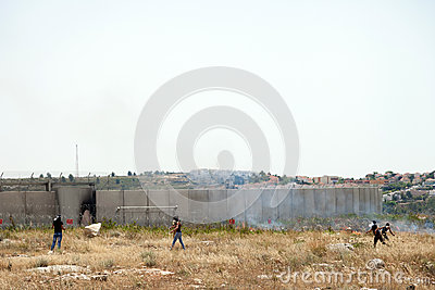 Palestinian Demonstration by the Wall of Separation Editorial Photography