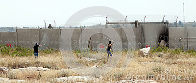 Palestinian Demonstration by the Wall of Separation Editorial Photo