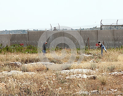 Palestinian Demonstration by the Wall of Separation Editorial Image