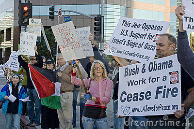 Palestinian-Israeli Conflict Protest Rally In Los Editorial Photography