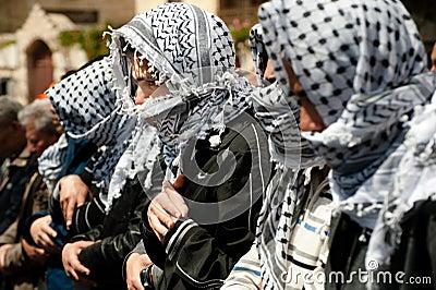 Palestinian Muslims pray Editorial Photo