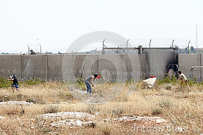 Palestinian Protest by the Wall of Separation West Bank Editorial Photography