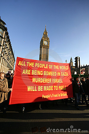 Palestinian protesters near Big Ben in London Editorial Photography