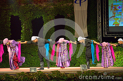 Picturesque folkloric ballet at outdoor stage