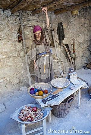 Palestinian weaver Editorial Stock Photo