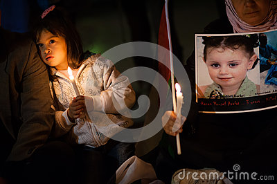 Palestinians and Israelis protest Gaza attacks Editorial Stock Photo