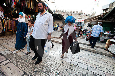 Palestinians at Jerusalem s Damascus Gate Editorial Image
