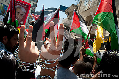 Palestinians march to demand freedom for prisoners Editorial Stock Photo