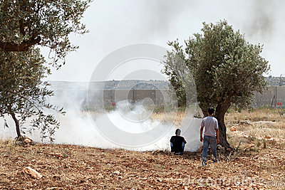 Palestinians by Tear Gas and the Separation Wall Editorial Photo
