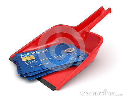 Paletta per la spazzatura e carte di credito (percorso di ritaglio incluso)