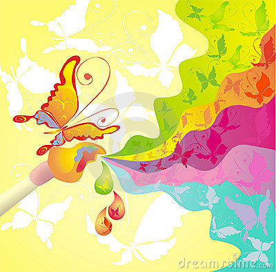 Palette of colours and brush, vector illustration