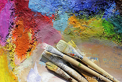 Palette and paint brushes