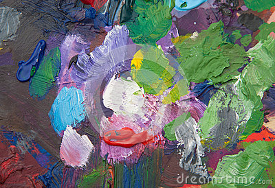 Palette with paint strokes
