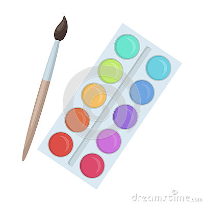 Free Palette With Paints And Brush. Paint In School.School And Education Single Icon In Cartoon Style Vector Symbol Stock Royalty Free Stock Image - 88897076