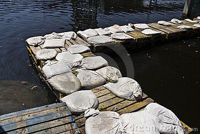 The pallet bridge for avoid flood in Thailand Editorial Photography