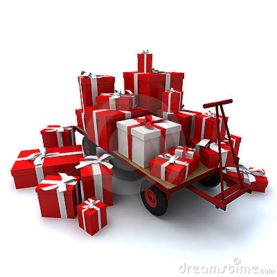 Free Pallet Truck Loaded With Gifts Stock Photography - 3138892